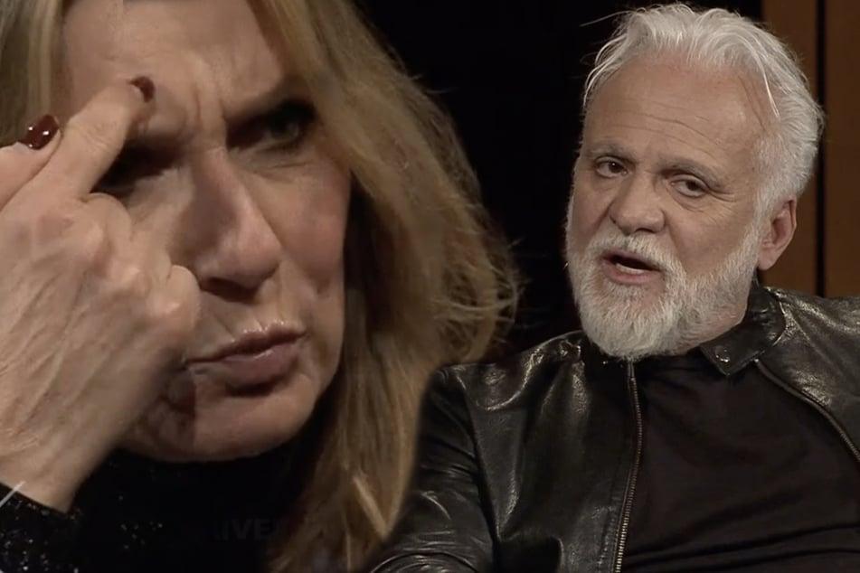 """""""Du spinnst wohl!"""" Moderatorin Kim Fisher (51) hat kein Verständnis dafür, wie leichtsinnig Sänger Nino de Angelo (57) mit seiner COPD-Erkrankung umgeht."""