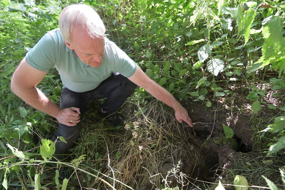 Bernhard Herrmann (55,Grüne) weist auf Schäden im Teichdamm hin.