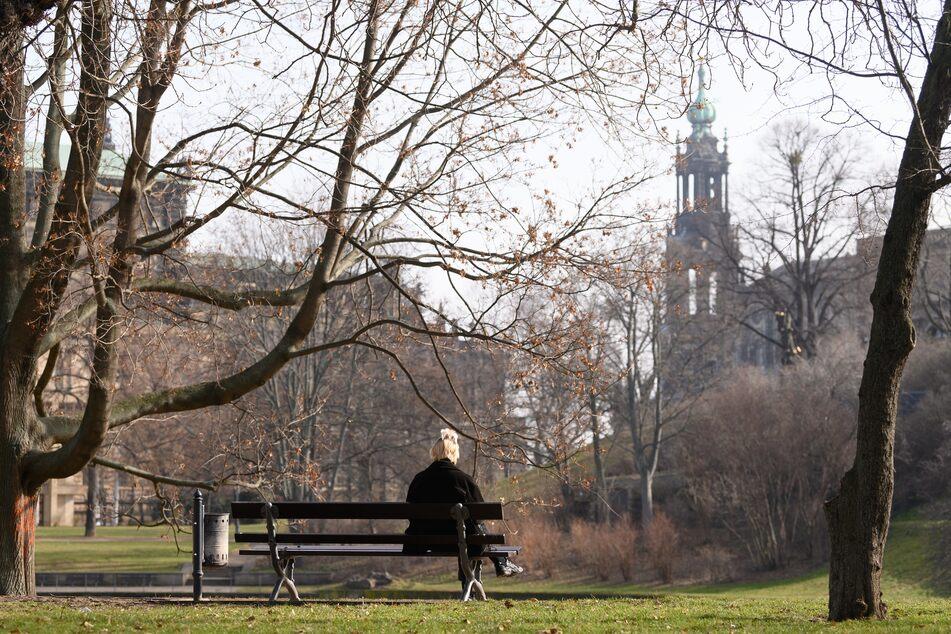 Eine Frau sitzt am Zwingerteich in Dresden. In gesamt Sachsen sinkt die Inzidenz (aktuell: 81,1), liegt aber über den bundesweiten Schnitt von 65,4.