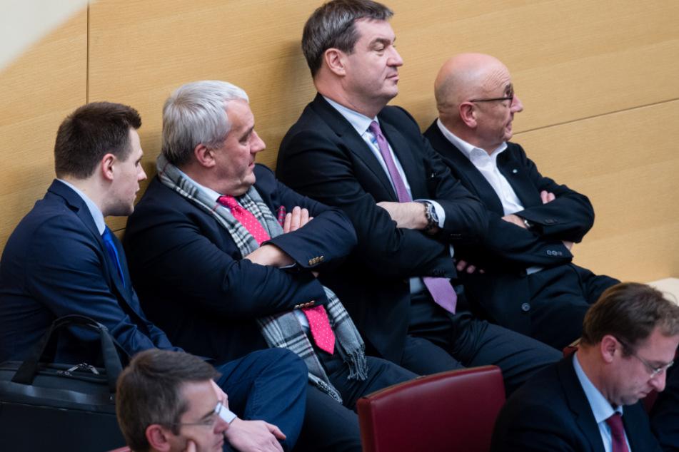 Ein Bild aus dem Jahr 2016: Andreas Schalk (l-r), Ludwig Spaenle, Markus Söder, damals Finanzminister, und Alfred Sauter.