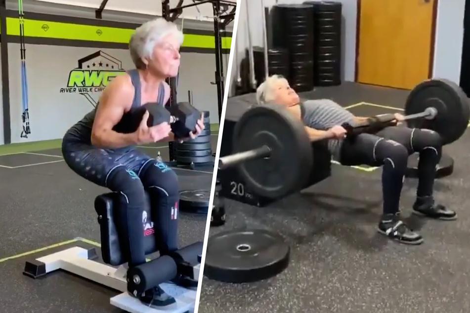 Mit 71 Jahren! Seniorin lässt im Fitnessstudio einfach jeden dumm aussehen!