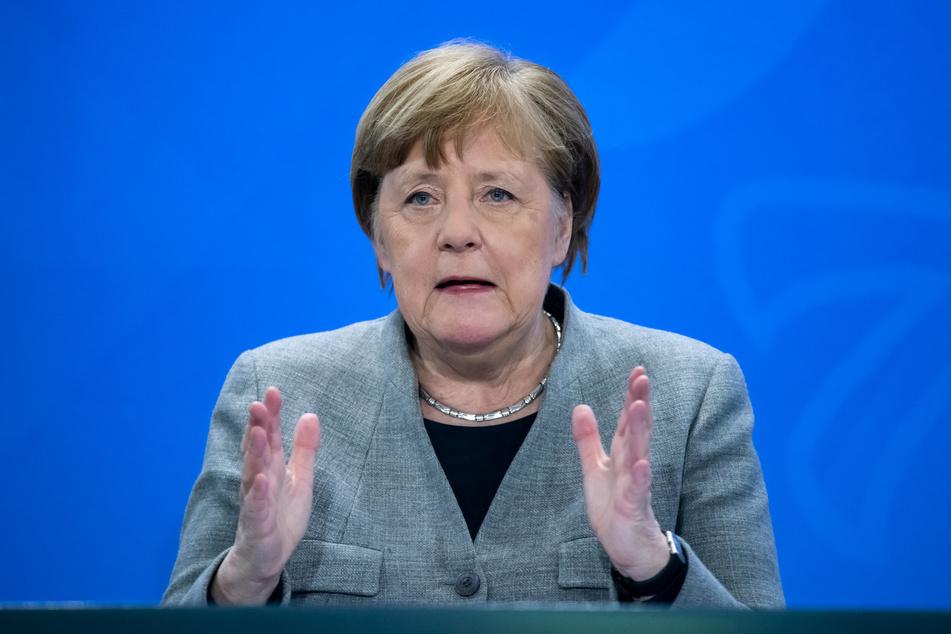 Bundeskanzlerin Angela Merkel (CDU) äußert sich auf einer Pressekonferenz im Bundeskanzleramt.