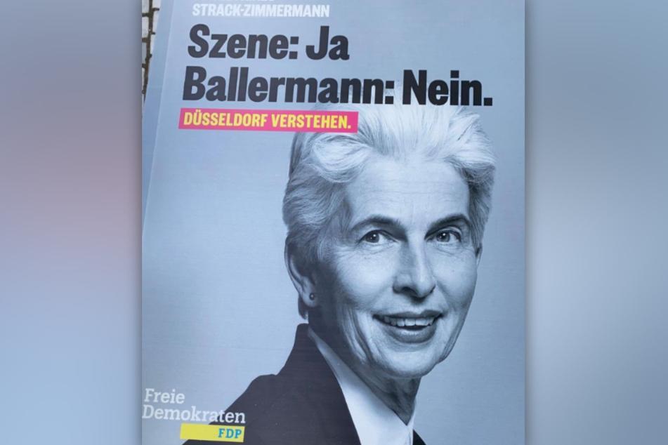 """OB-Kandidatin Marie-Agnes Strack-Zimmermann (62, FDP) teilte ihr """"Ballermann""""-Wahlplakat bei Twitter."""