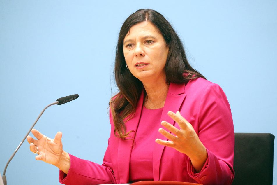 Sandra Scheeres (SPD), Senatorin für Bildung, Jugend und Familie, bei einer Pressekonferenz im August in Berlin.