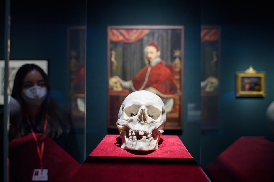 """Eine Mitarbeiterin der Staatlichen Kunstsammlungen Dresden betrachtet in der Sonderausstellung """"Bernini, der Papst und der Tod"""" im Semperbau das Meisterwerk des Bildhauer Gian Lorenzo Bernini (1598-1860): einen Totenkopf aus weißem Carrara-Marmor."""