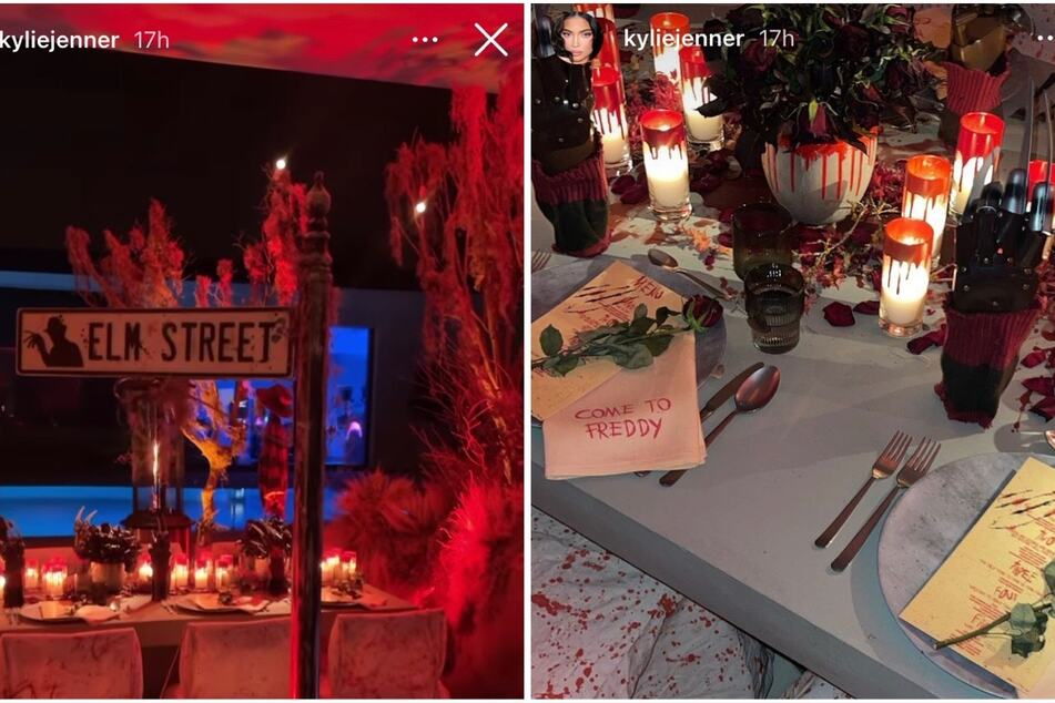 Kylie Jenner celebrated the launch of her new makeup line with a Nightmare on Elm Street-themed dinner party.