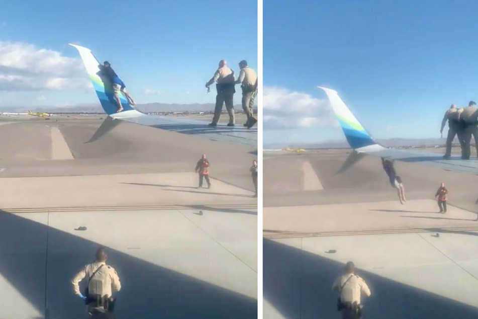 After 45 minutes, the scary scene ended: the man slipped and fell from the wing (collage).
