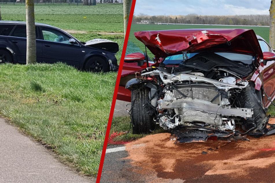 Heftiger Frontalcrash bei Leipzig: Audi und Mercedes hatten jeweils überholt
