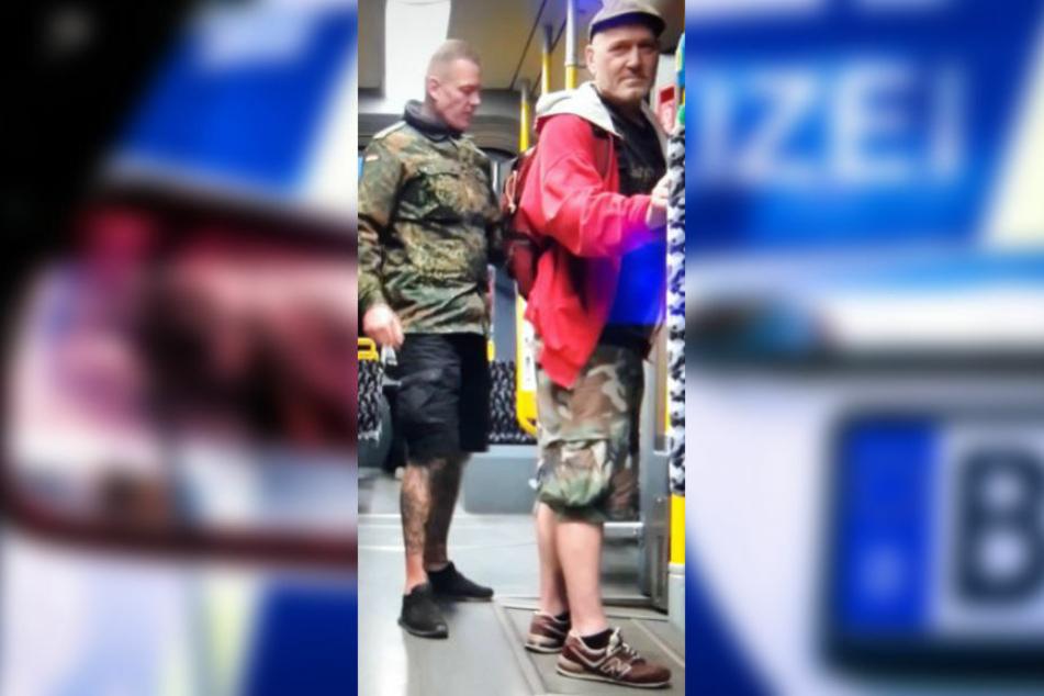 Mit dem Foto aus einer Überwachungskamera sucht die Polizei Berlin nach zwei Männern, die am 6. Juni 2020 einen Mann rassistisch beleidigt und einen Zeugen der Tat verprügelt haben sollen.
