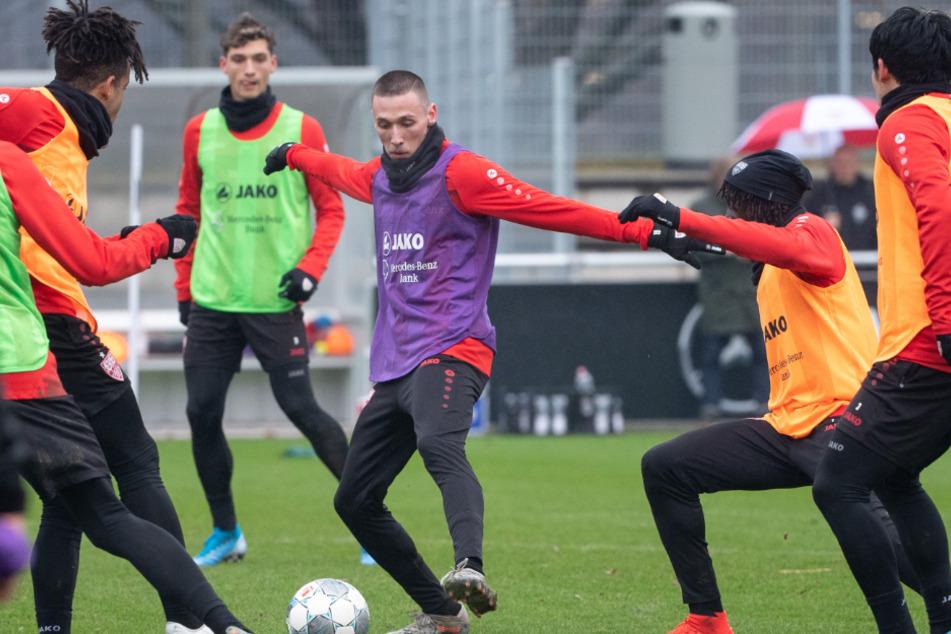 Der VfB beim Training im Januar.