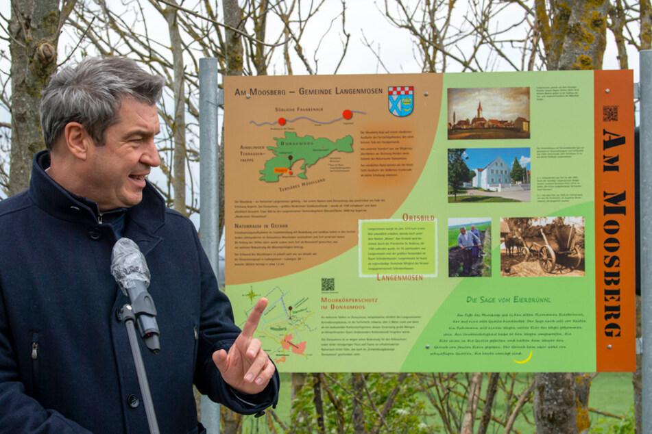Markus Söder (54, CSU), Ministerpräsident von Bayern, spricht während der Vorstellung zur weiteren Entwicklung des Donaumooses.
