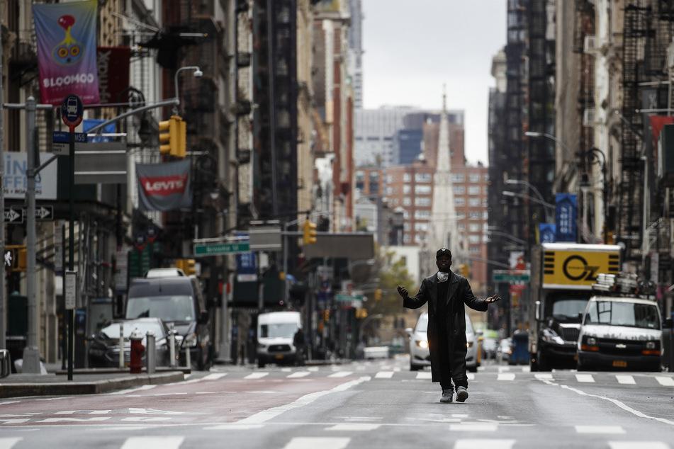 Nahezu menschenleere Straßen in New York.