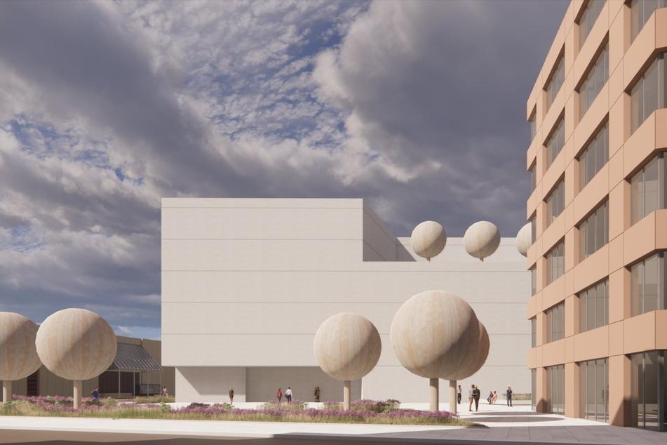 Die Visualisierung soll nur die Größe zeigen. Die künftige Fassade hat natürlich Fenster und ist mit hellem Klinker gestaltet.