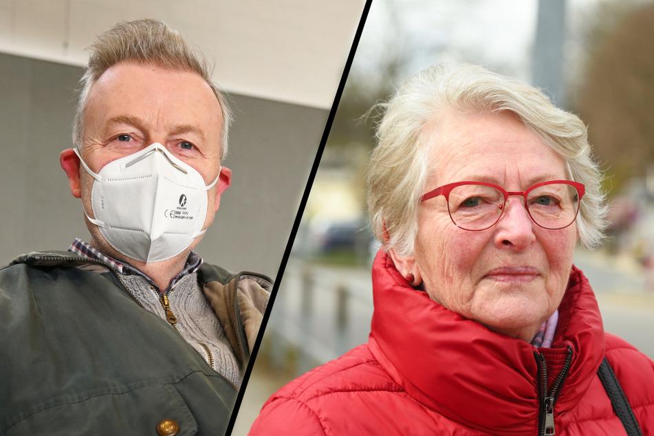 Heinz Haase (69, l.) wartete in der Turnhalle eines Gymnasiums allein auf die Entwarnung. Hannelore Weigand (84) durfte nicht zum Arzt in Dittersdorf - seine Praxis lag in der Sperrzone.