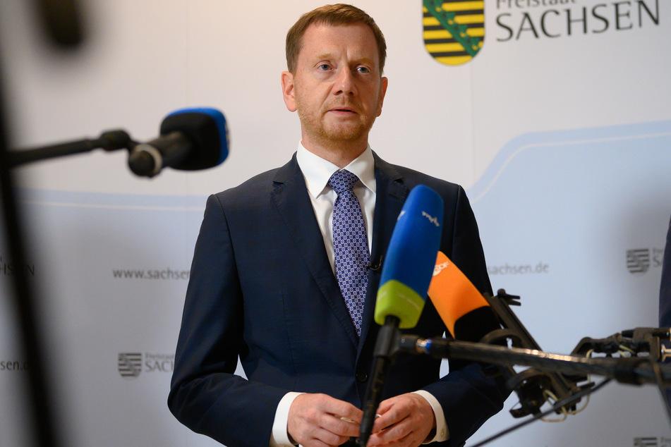 Michael Kretschmer (46, CDU), Ministerpräsident von Sachsen, äußert sich im Penck Hotel zur Hochwassersituation in Deutschland und der Unterstützung aus Sachsen.