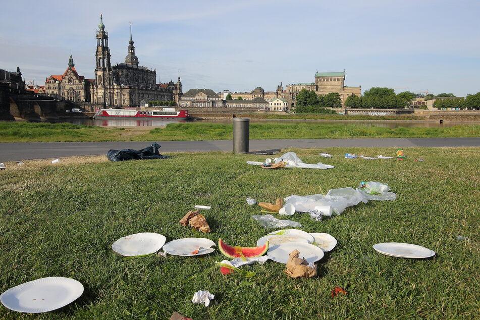 Dresdens Stadtbild kann so schön sein. Damit das auch so bleibt: Müll gehört in die Mülltonne und nicht daneben.