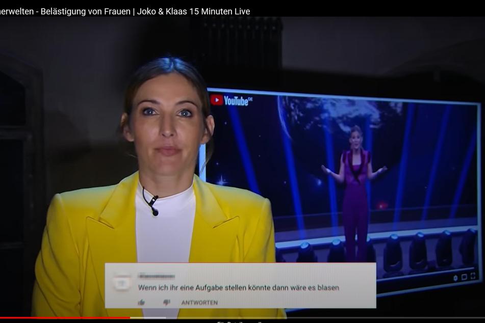 Das Standbild aus den 15 Minuten freier Sendezeit vom 13.05.2020, die sich Joko Winterscheidt und Klaas Heufer-Umlauf bei ProSieben erspielt haben, zeigt Jeannine Michaelsen mit ihrem Beitrag zum Thema sexuelle Übergriffe gegen Frauen.