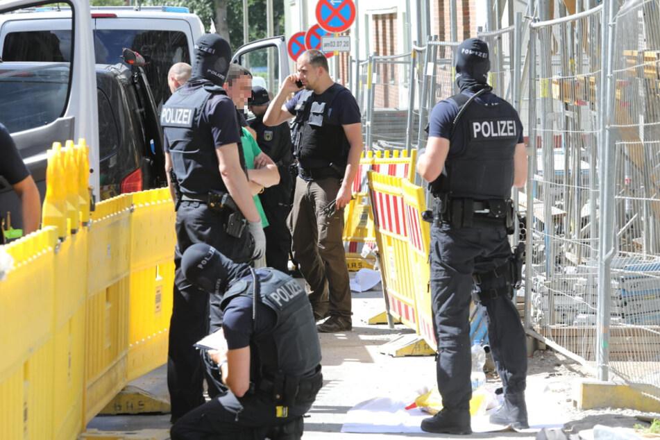 Auf der Baustelle in Leipzig soll es auch zu einer Verhaftung gekommen sein.