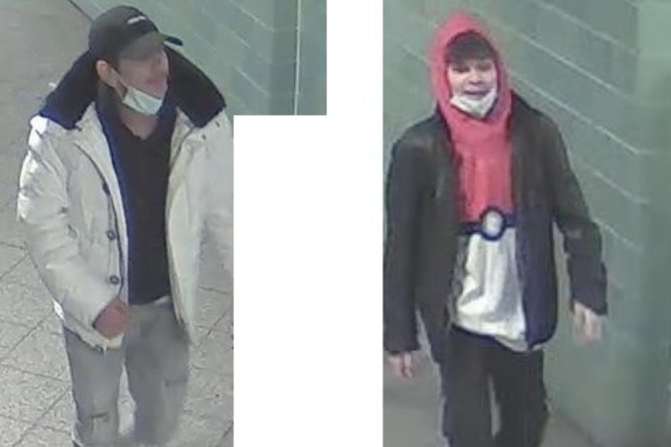 Die Polizei sucht mit diesen Bildern aus einer Überwachungskamera nach den Unbekannten.