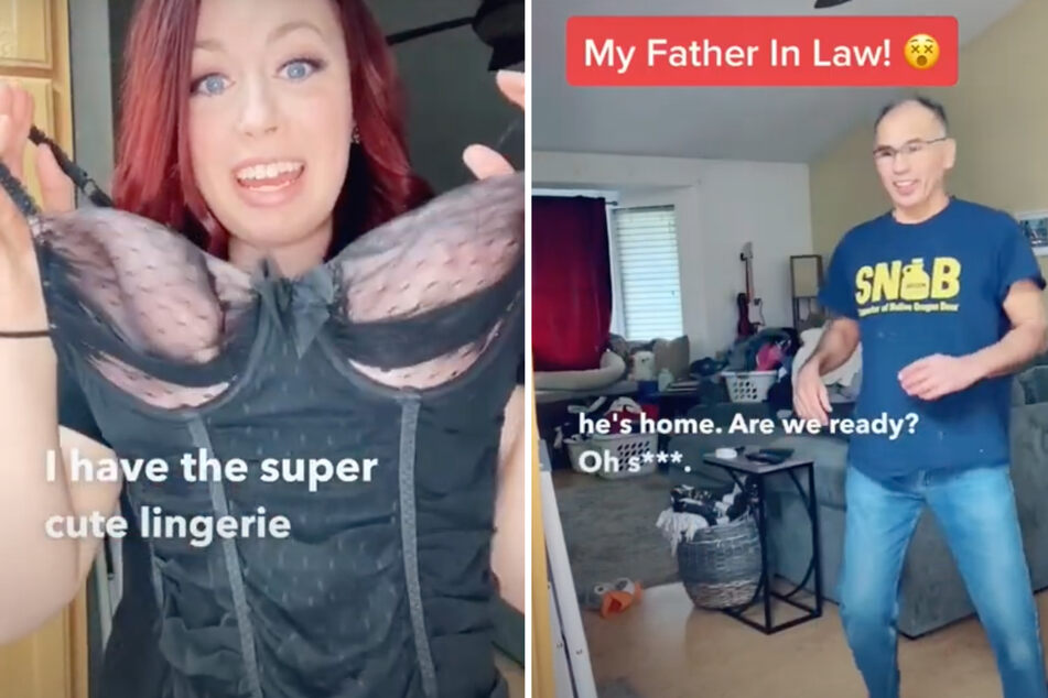 Wife has sexy surprise for husband, but then another man walks through the door!