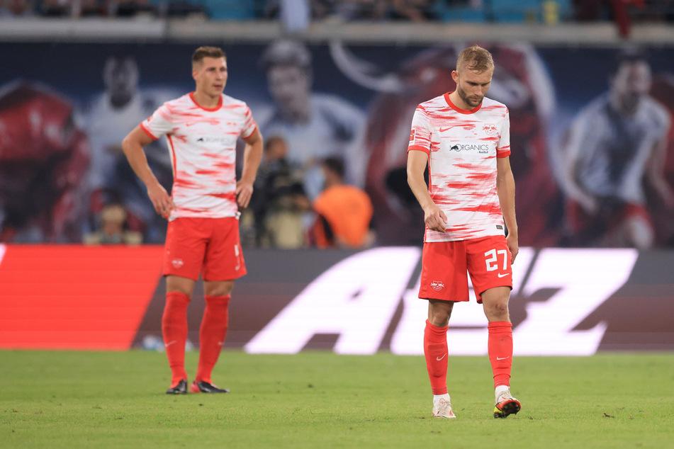 Bei Konrad Laimer (r.) und Willi Orban herrschte Niedergeschlagenheit.