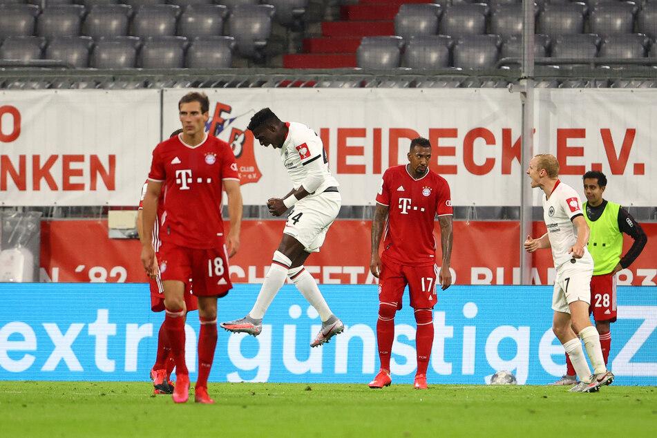 Eintrachts Danny da Costa (26, M.) bejubelt seinen Treffer zum zwischenzeitlichen 1:1-Ausgleich gegen den FC Bayern.