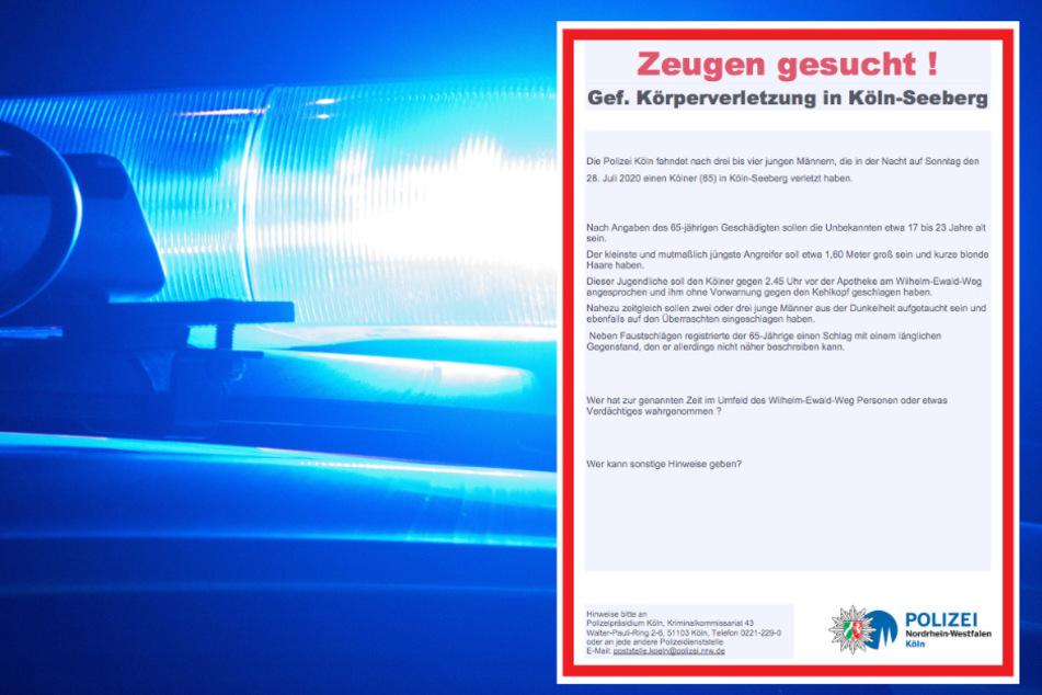 Brutale Attacke auf Kölner (65): Polizei sucht Zeugen