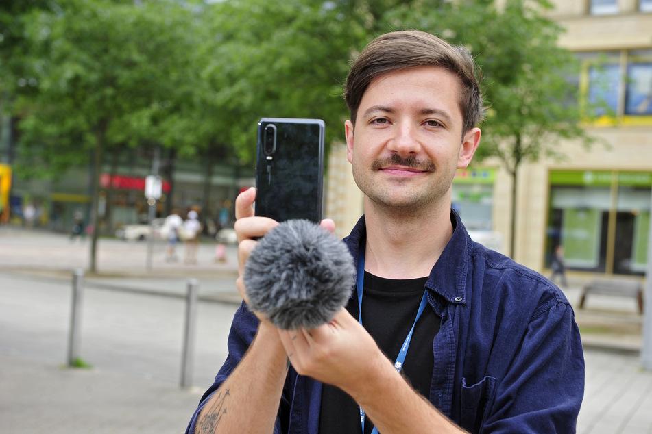 Redakteur Philipp Köhler befragt aktuell Chemnitzer Bürger für ein neues Social-Media-Format auf Instagram.