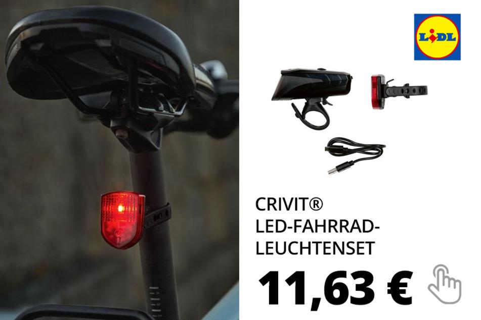 CRIVIT® LED-Fahrrad-Leuchtenset, automatische Lichtsteuerung, werkzeuglose Montage