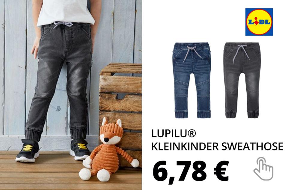 LUPILU® Kleinkinder Sweathose Jungen, in Jeans-Optik, mit Gummizugbund, mit Baumwolle