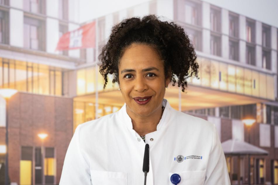 Hamburg: Die Leiterin der Infektiologie, Professor Dr. Marylyn Addo, spricht während einer Pressekonferenz am Universitätsklinikum Eppendorf.