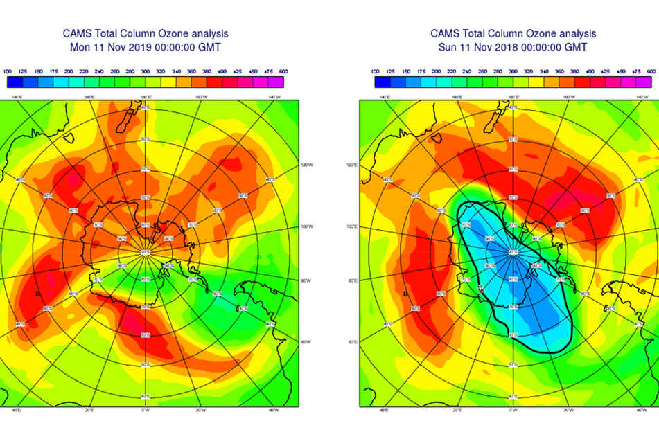 CAMS analysis shows the total amount of ozone (in Dobson units) on November 11, 2019 (left) as compared to the same day in 2018 (right).