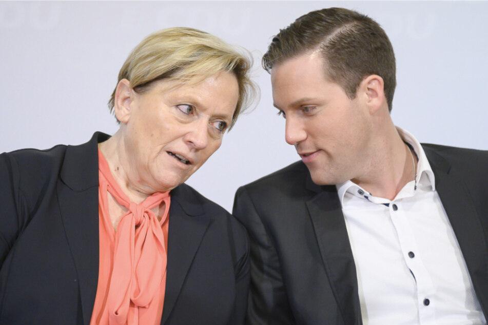 Susanne Eisenmann, Spitzenkandidatin zur Landtagswahl 2021 und Kultusministerin des Landes Baden-Württemberg, und Manuel Hagel, Generalsekretär der CDU, im Januar 2020.