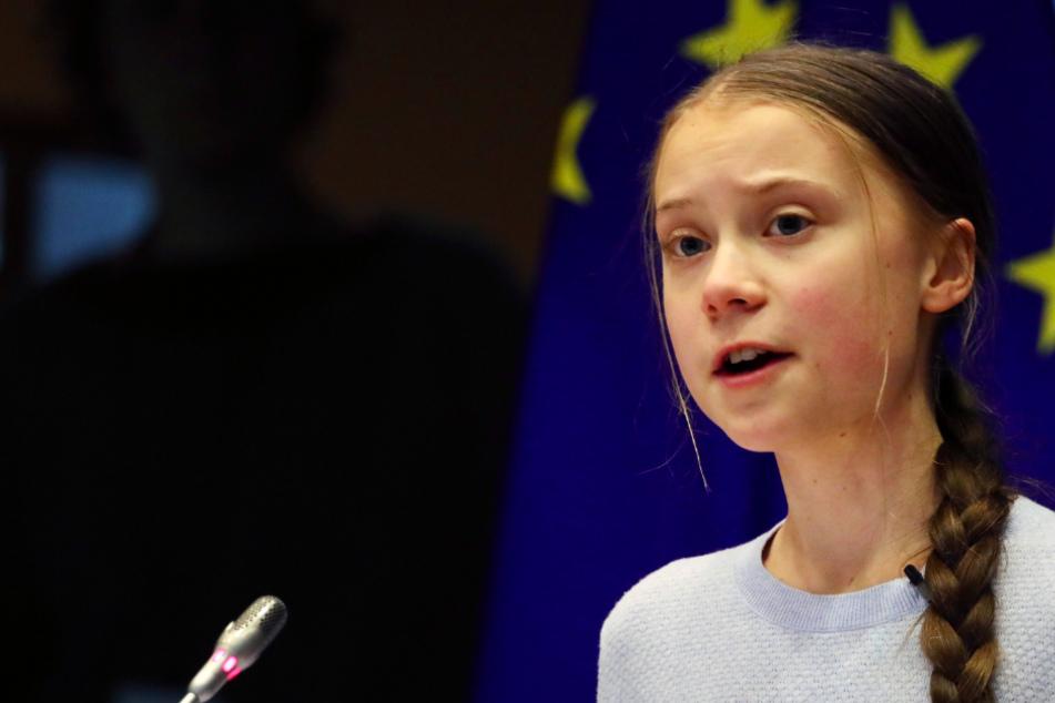Greta Thunberg bei ihrer Rede vor dem Umweltrat des Europäischen Parlaments.