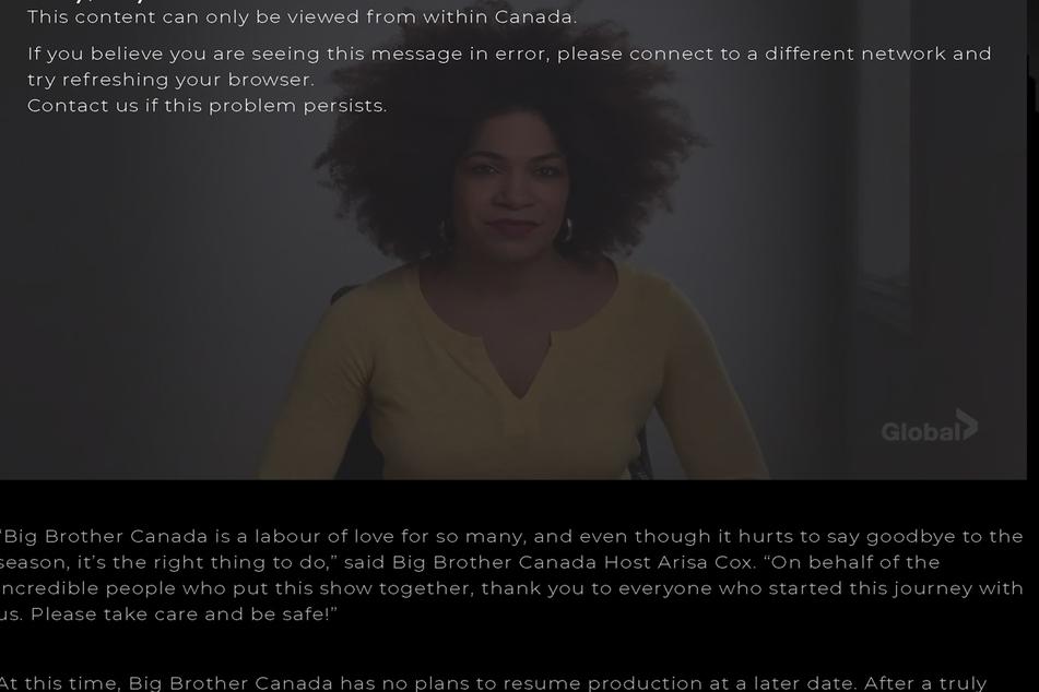 Screenshotwww.bigbrothercanada.ca - ModeratorinArisa Cox verkündet das vorzeitige Staffel-Aus.
