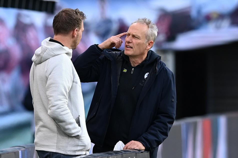 Julian Nagelsmann (33/l.) und Christian Streich (55) lobten vor der Partie die Mannschaft des jeweils anderen.