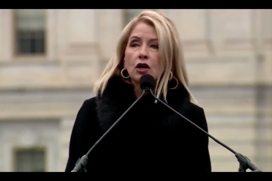 Representative Mary Miller quoting Hitler during a speech to Moms for America on Tuesday.