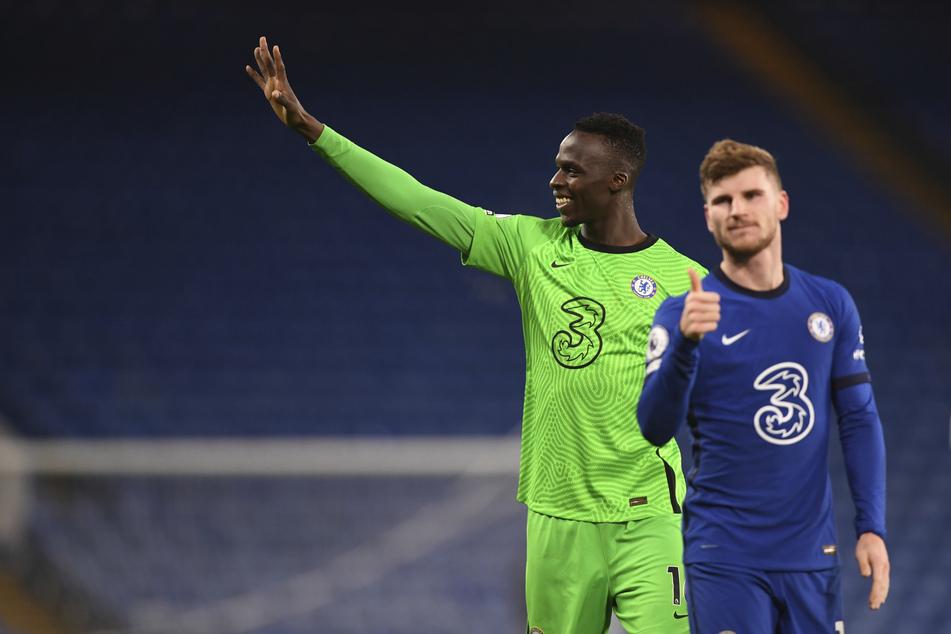In Bezug auf die Liga glaubt Werner, hier zusammen mit Chelsea-Torwart Edouard Mendy (28), weiter daran, dass die Blues die Meisterschaft holen.
