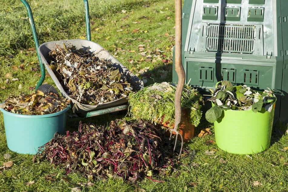 Bei der Gartenarbeit fallen meist jede Menge Abfälle zum Kompostieren an.