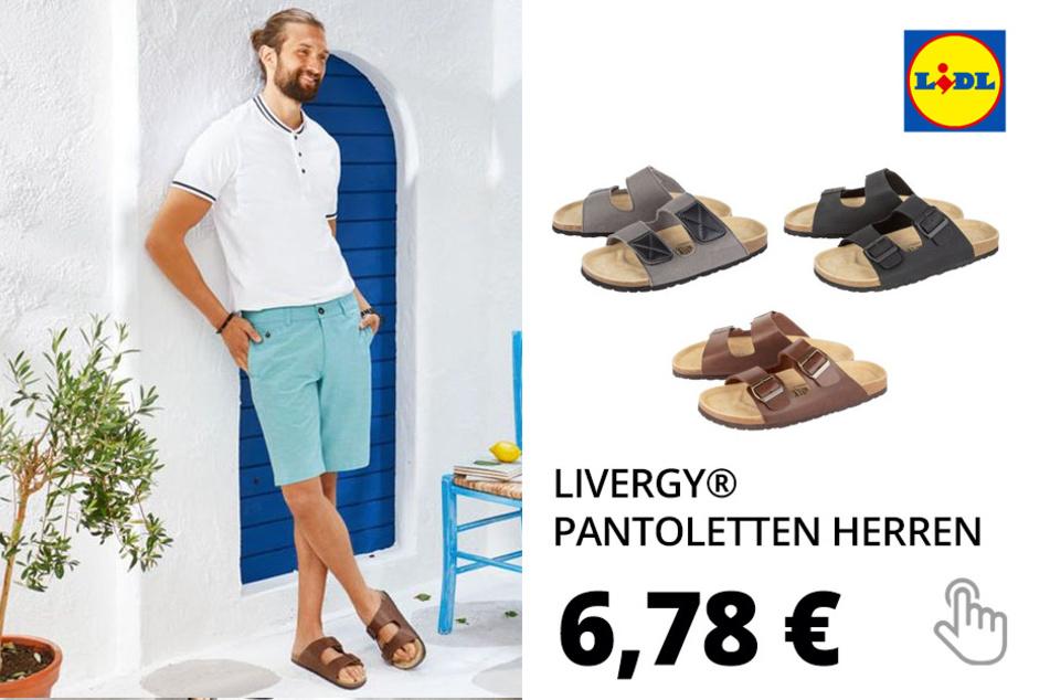 LIVERGY® Pantoletten Herren, anatomisch geformtes Fußbett, EVA-Laufsohle, mit Lederdecksohle
