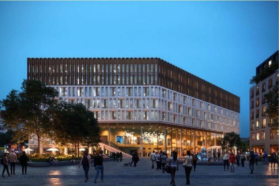 So könnte der Blick über den Ferdinandplatz zum Haupteingang des Verwaltungszentrums aussehen.