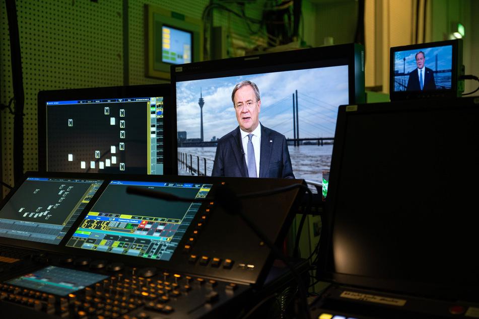 Armin Laschet (CDU) äußert sich in einer Fernsehansprache im WDR zur Flut-Katastrophe in NRW.