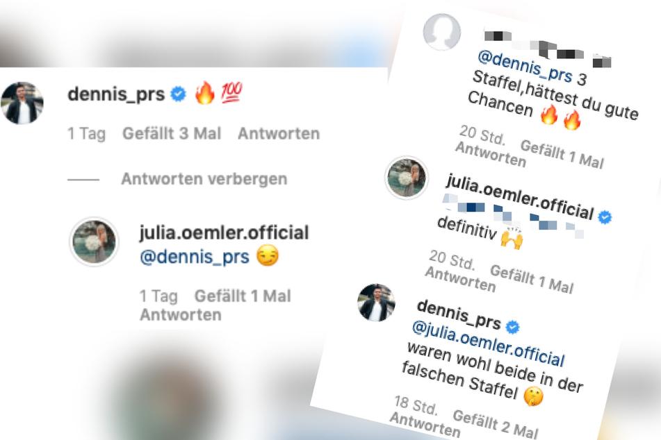 Auf Instagram flirten Dennis und Julia ganz öffentlich miteinander.