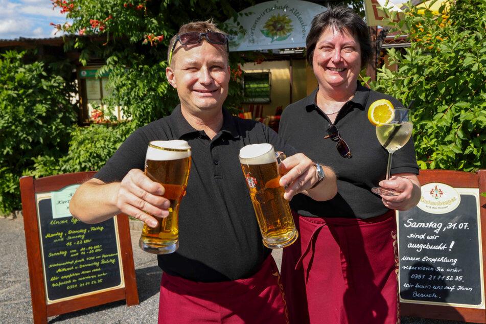 Hier gibt's Hausgemachtes und natürlich kühles Bier: Sven und Ilka Franke (49 und 51) betreiben die Gartenwirtschaft Altleuben.