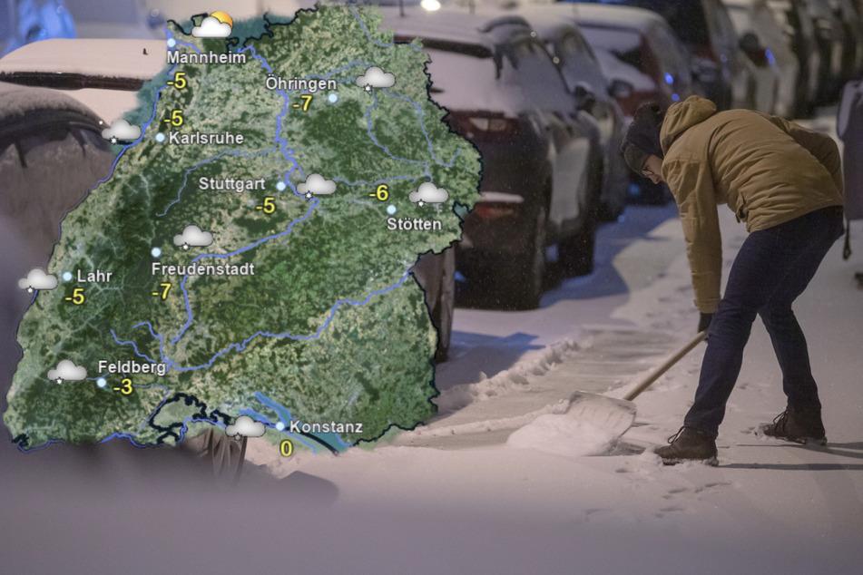 Die Temperaturen in Baden-Württemberg bleiben eisig, über den Mittwoch verteilt fällt weiter Neuschnee. (Fotomontage)