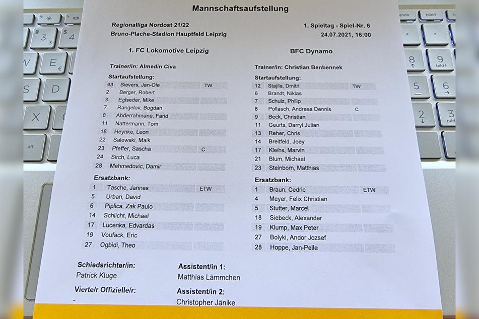 Die Aufstellungen am 1. Spieltag.