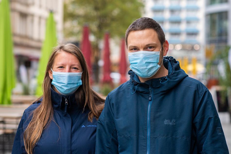 Romy Franz und Thomas Kesselring sprechen sich gegen die Maskenpflicht in der Innenstadt aus.