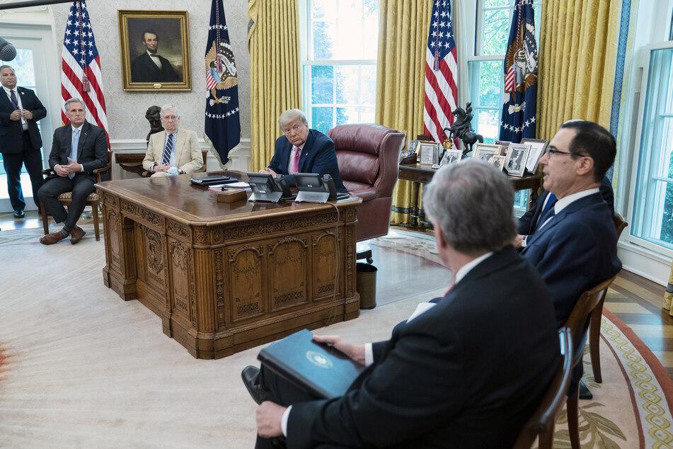 US-Präsident Trump beim Treffen im Weißen Haus.