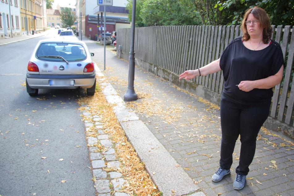 Busfahrerin Diana Schietzel (45) zeigt, wo die Diebe ihren Skoda klauten.