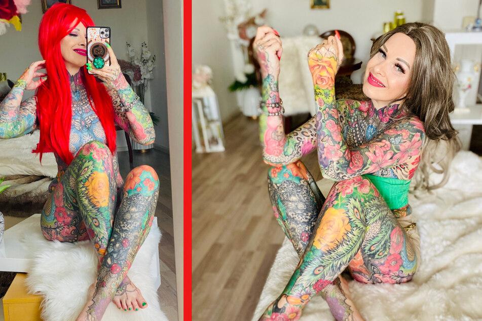 Auf Instagram, TikTok und Co. zeigt die Leipziger Taxi-Fahrerin stolz ihren Körper: Darauf sind Tattoos im Wert von etwa 30.000 Euro verewigt.